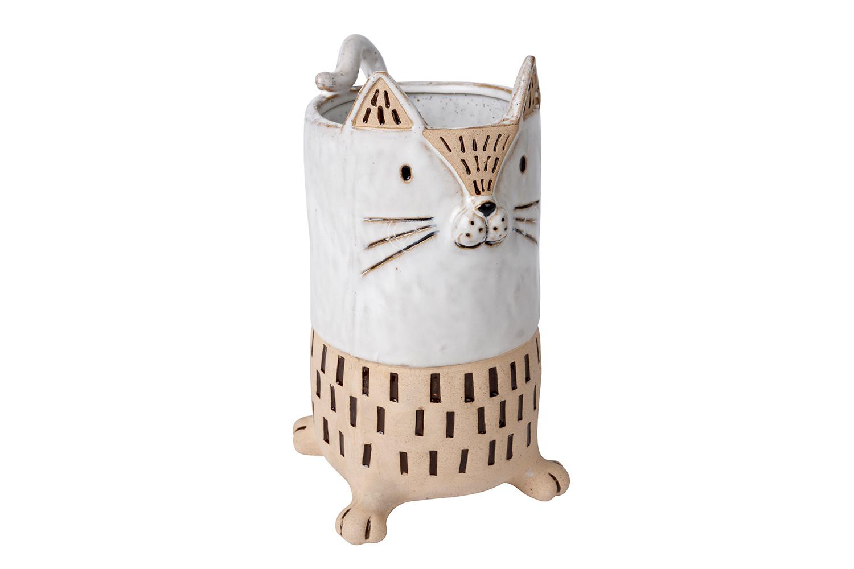 GREY CAT VASE