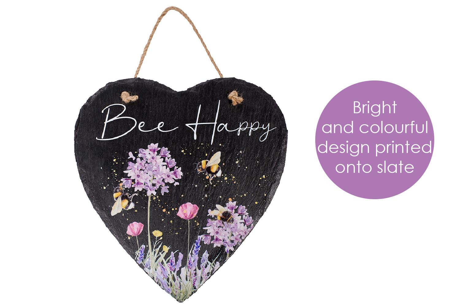 BEE HAPPY SLATE PLAQUE
