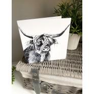 GREY HIGHLAND COW CARD