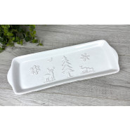 WHITE EMBOSSED SNACK TRAY*