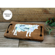 FLORAL COW TRAY